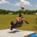 U10 player learning bicycle kicks at the I Got Skills striking and finishing camp.  IGotSkills.com